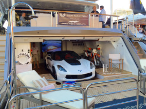 La Pellegrina Superyacht with Corvette in the Garage